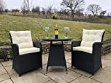 Schwarze Furniture Rattan Outdoor 2 Seat Round Garden Bistro Set in Black