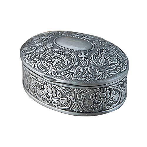 schmuckkästchen damen, Zinklegierung hochwertig oval Europäische kreative Retro-Schmuckschatulle - Silber