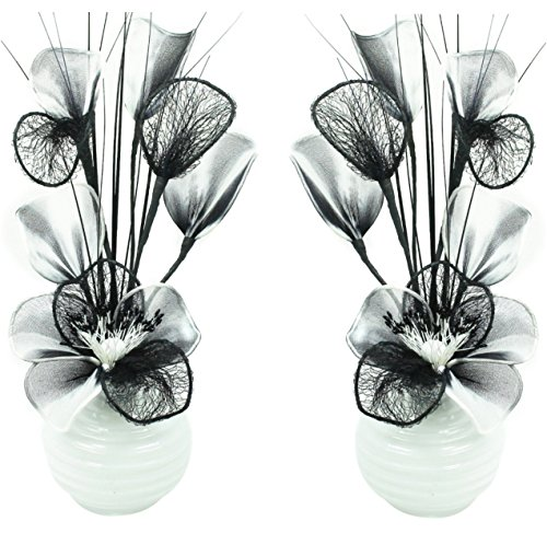 Chambre ou Cuisine 32 cm Accessoires et d/écoration pour Salle de Bains d/écoratif Flourish Blanc Fleurs artificielles avec Vase Noir