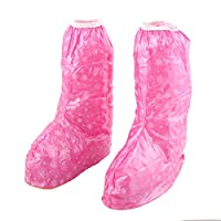Sourcingmap Rubber Lady Snowflake Pattern Sole Non Slip Water Rain Guard Shoes Boot Cover Pair Fuchsia
