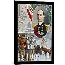"""Cuadro con marco: Tancredi Scarpelli """"The polar expedition of the Duke of the Abruzzi"""" - Impresión artística decorativa con marco de alta calidad, 50x70 cm, Negro / canto gris"""