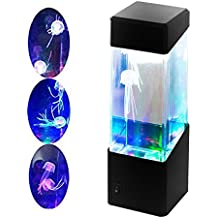 AOLVO Medusa Lámpara Acuario, Mini Jellyfish Lamp LED de Cristal, 2 Artificial Medusas Nadar