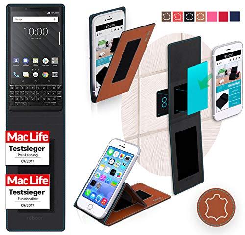 reboon Hülle für BlackBerry KEY2 Tasche Cover Case Bumper | Braun Leder | Testsieger