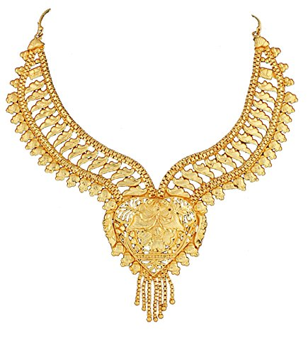 Variation's Stunning Gold Plated Heart Shape Necklace Set for Women + Matching Earring - VD14643  available at amazon for Rs.375