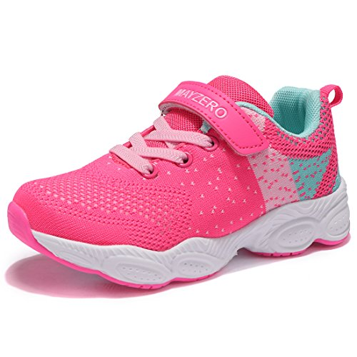 MAYZERO Unisex-Kinder Sneakers Laufen Schuhe Sportschuhe Sneakers Jungen Mädchen Low-Top Sneakers (29 EU, Rosa#1)