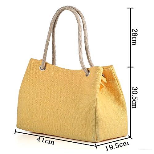 Tibes Borse riutilizzabili per la spesa Tote bag Borse da spiaggia Pochette e clutch donna Giallo