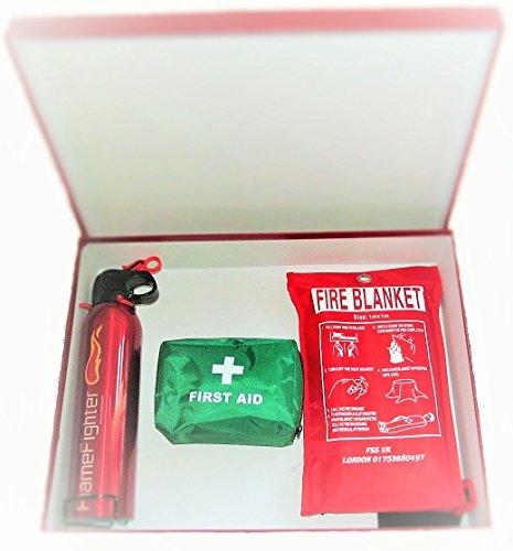 A Fire Sicherheit Essentials Box für alle. 600g ABC Pulver Feuerlöscher, Feuerlöschdecke und Erste Hilfe Kit, und ideal für zuhause, Küche Büros Arbeitsplätze Erste-klasse-wandhalterung