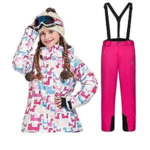LSERVER Kinder Skianzug Set Winter Jungen und Mädchen Cartoon verdicken warme Skijacke + Skihose