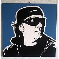 VASCO ROSSI QUADRO MODERNO PANNELLO LEGNO MDF DIPINTO A MANO POP ART (formato 40 x 40 cm, sfondo azzurro turchese)