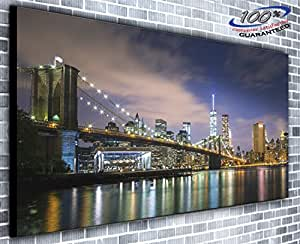 Canvas35 Brooklyn Bridge New York Cityscape Manhattan Panoramic Wall Art Print Framed Xxl 55 inch x 24 inch Over 4.5 Wide x 2 Ft High Ready to Hang, Canvas, Multi-Colour,