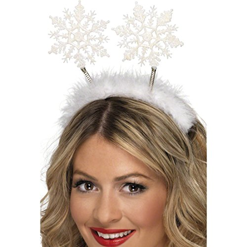 Amakando Schneeflocken Haarreif Weihnachtshaarreif Haarreifen Weihnachtsengel Haarschmuck Weihnachten Winter Kopfschmuck Weihnachtskostüm Accessoire