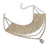Jerollin Damen Kropfbänder Halskette Collar Choker Collier Halsreif Necklace Statement Kette Gold Vintage Elegant Pendant Anhänger Trachtenschmuck Modeschmuck