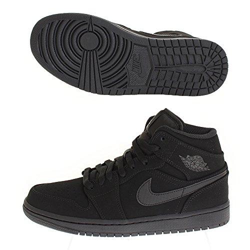 Nike Herren Air Jordan 1 Mid Basketballschuhe Schwarz (Black/White/Black)