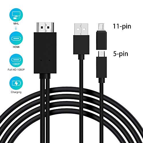 Adaptador micro USB a HDMI, Cable MHL a HDMI de 5 pines a 11 pines con