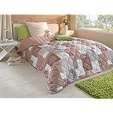 Tagesdecke Bettüberwurf 220x240cm Sofa Couch Überwurf Decke Gesteppt Steppdecke (braun)