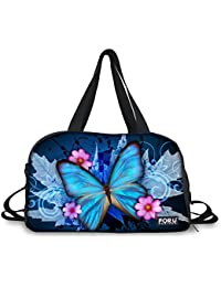 Hugsidea Blue Art Butterfly Print Gym Fitness Shoulder Bags Large Sports Travel Duffles