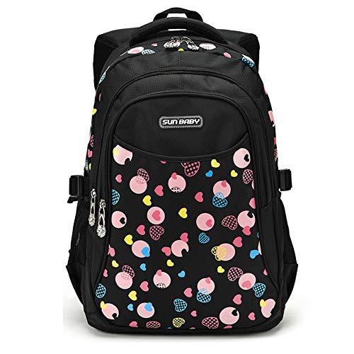 LIEOAGB Mädchen süße Schultasche Rucksack Set für Grundschüler Bookbag leichte wasserdichte Kinder Daypack + Federmäppchen Schuljahreszeit Geschenk für Mädchen-black-19inch