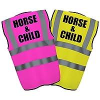 HORSE & CHILD - Hi Vis Hi Viz High Visibility Reflective Safety Vest/Waistcoat   Yellow/Pink