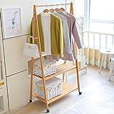 Kleiderständer Garderobenständer Abnehmbarer Fallen Schlafzimmer bewegen Bambus Bambus Kleiderbügel (Farbe : Board, Größe : 80cm)