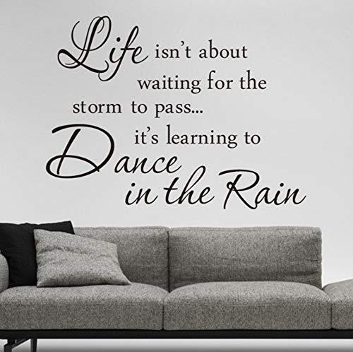 YzybzInspiration Zitat Das Leben Ist Tanz Im Regen Sprüche Home Decor Wandaufkleber Berühmte Warme Wandkunst Zum Abziehbild-Buch-Raum-Klassenzimmer