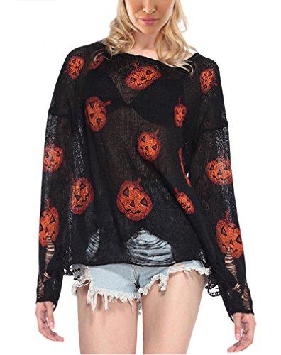 Kürbis Design (AIYUE Halloween Shirt Kürbis Drucken Pullover Langarmshirt mit Löchern Design Sweatshirt Party)