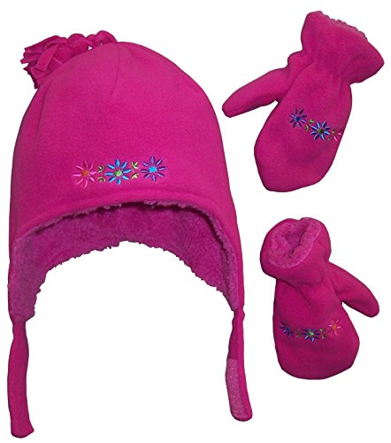 nice-caps-girls-sherpa-lined-flowers-embroidered-micro-fleece-set-2-3yrs-fuchsia-multi