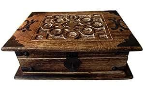 schmuckschatulle antik look holzbox 26x18x9cm schmuckkasten massivholz aufbewahrungsbox amazon. Black Bedroom Furniture Sets. Home Design Ideas