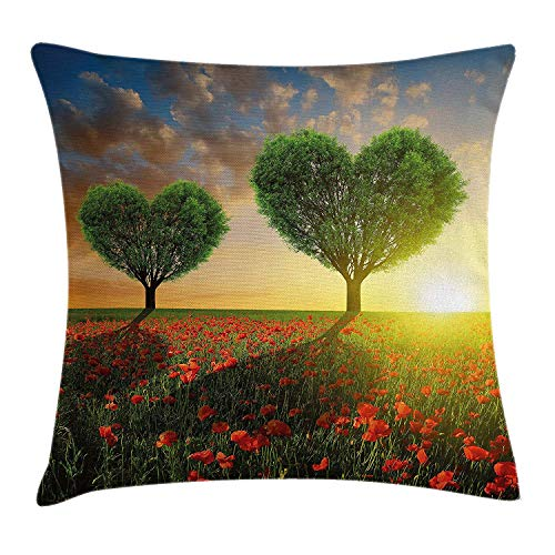 Valentine's Day Throw Pillow Cushion Cover, Poppy Heart Shaped Trees Sunset Cloudy Sky Rural Romantic Love Meadow, Decorative Square Accent Pillow Case, 18 X 18 Inches, Green Red Blue