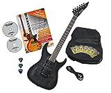 Rocktile Pro J150-TB E-Gitarre Transparent Black mit Zubehör (Gitarren Gigbag Tasche, Kabel, Plektren, Gitarren Schule mit CD & DVD, Gitarrensaiten)
