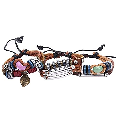 Morella Women's Leather Bracelet Set 3 Pieces with Beads