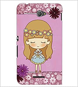 PrintDhaba Cute Doll D-3527 Back Case Cover for SONY XPERIA E4 (Multi-Coloured)