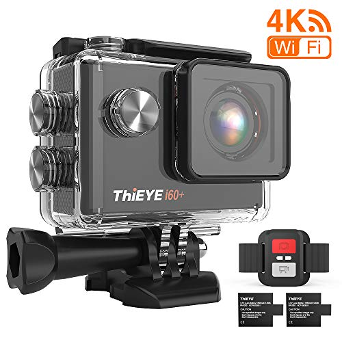 ThiEYE i60+ - Cámara deportiva 4 K 20 MP WiFi 170 ° gran angular de acción cámara impermeable de 60 m LCD HD pantalla 2,4 G mando a distancia con 2 pilas recargables de 1050 mAh y accesorios completos