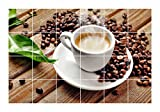 FoLIESEN Fliesenaufkleber für Bad und Küche - Fliesenposter - Motiv - Kaffeepause - Fliesengröße 10x10 cm - Fliesenbild 60x40 cm (LxH)