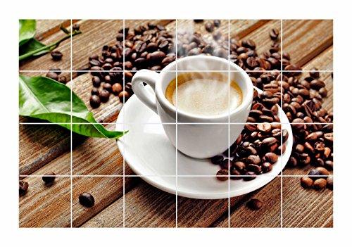 FoLIESEN Fliesenaufkleber für Bad und Küche - Fliesenposter - Motiv - Kaffeepause - Fliesengröße 10x10 cm - Fliesenbild 30x20 cm (LxH)