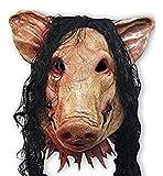Maschera horrible per Halloween a forma di maialino, per feste in maschera, in lattice, con motosega, maniaca, fantasma