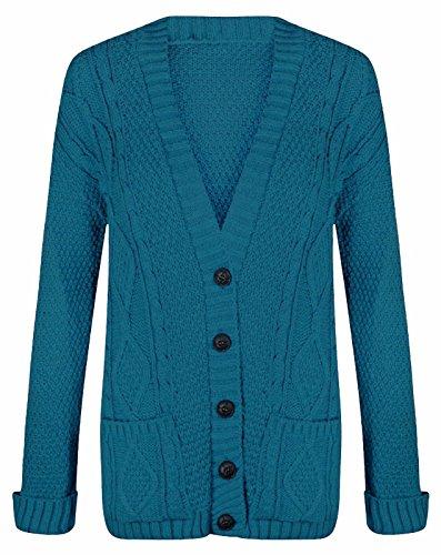 Bouton tricoté longues pour femmes Chunky câble Cardigan EUR Taille 36-54 sarcelle