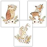 Frechdax® 3er Set Kinderzimmer Babyzimmer Poster Bilder DIN A4   Mädchen Junge Deko   Dekoration Kinderzimmer   Waldtiere REH Fuchs Hase (3er Set Waldtiere, Eule, Hase, REH)