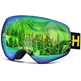Homeme Ski Goggles Pro Snow Goggles with UV 400 Double Lens Anti-fog for Women & Man (Green)