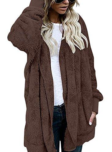 Ydairton Damen Winter Fleece Sherpa Jacke Hooded Cardigan Hoodie Sweaters mit Tasche (Large, Kaffee) (Kaffee-hoodie)