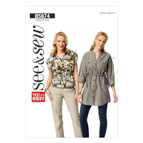 Butterick Patterns B5874-Cartamodello per camicie e camicette senza maniche lunghe, tutte le taglie, colore: bianco