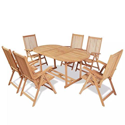 Lingjiushopping 7Stück Set Möbel Esstisch für Außen Teak Abmessungen der Tischplatte: 180x 90x 75cm (L x T x H) Gartenmöbel-Set - 7 Stück Esstisch