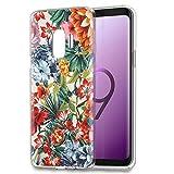 Coque Samsung Galaxy S9, Eouine Etui Silicone 3d Souple Transparente avec Motif Peinture Dessin [Antichoc] Housse Bumper Case Cover Coque pour Telephone Samsung Galaxy S9 - 5.8 Pouces (Fleur colorée)