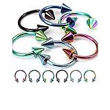 Best Colores de la ceja - 6 pendientes de aro de herradura de acero Review