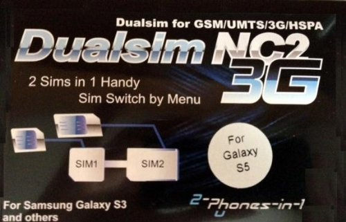 2-phones-in-1® 2in1-nc2s5 NC2 Dual Sim Adapter für Samsung Galaxy S5