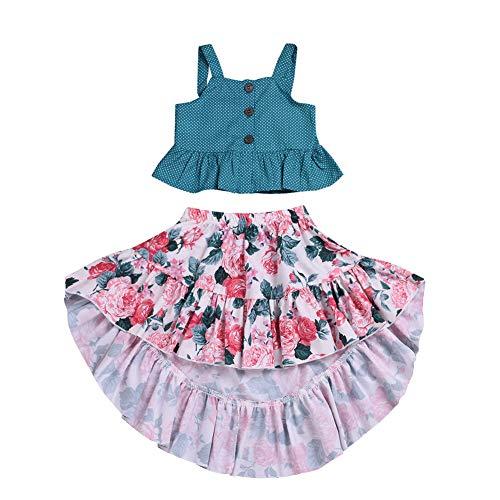 SCFEL Kinder Baby Mädchen Polka Dot Straps Tank Top + Rüschen Unregelmäßige Floral Rock 2 stücke Sommer Kleidung Set (Mehrfarbig, 2-3 Jahre) -