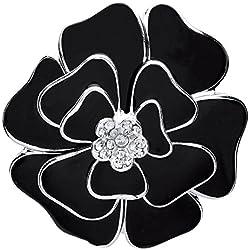 Front Row Damen-Brosche silberfarben schwarzes Emaille und Kristallblume