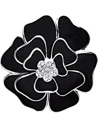 Front Row broche color de plata y esmalte negro con flor de cristal