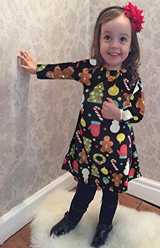 Minetom Donna Ragazza A-Line Vestito Casual Maniche Lunghe Di Natale Stampa Christmas Abito Regali Flared Swing Christmas Dress Partito Cocktail Tipo B