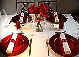 12 X Platzteller ROT Ø 33cm Dekoteller Weihnachten Advent Geburtstag Hochzeit Tischdekoration Unterteller Kunststoff rote Teller underplates 12er Set - 3