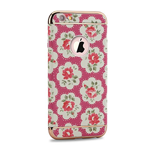 iPhone 6S Plus Hülle,iPhone 6 Plus Schutzhülle,iPhone 6S Plus Case,Sunroyal Elegant Retro Schön Bunt Rosa Floral Blumen Muster 3 in 1 Abnehmbar Stoßfest PC Textur Hart Zurück Galvanisieren Edge Ultra  Pattern 12